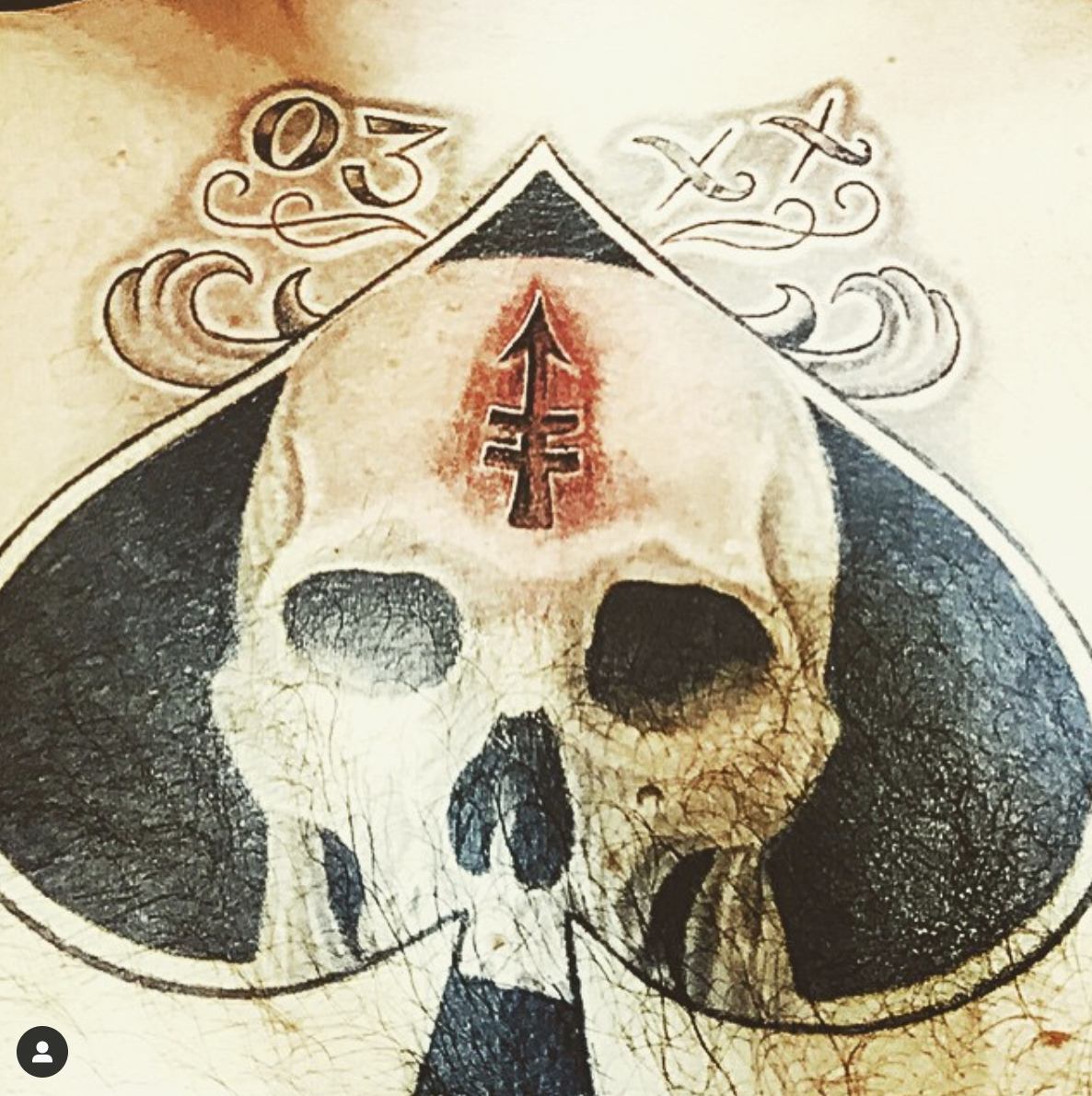 H&H Vegas client Larry B's machine gunner symbol tattoo