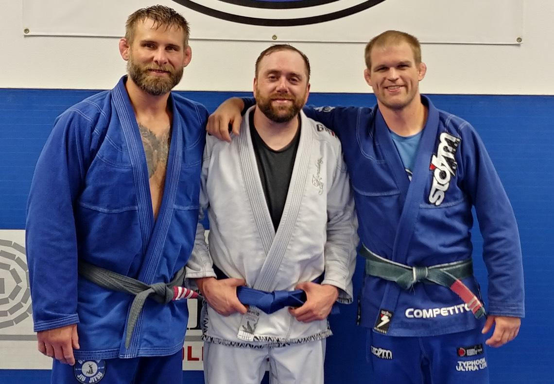 BJ with his coaches, UFC Lightweight pro Evan Dunham and David Gill